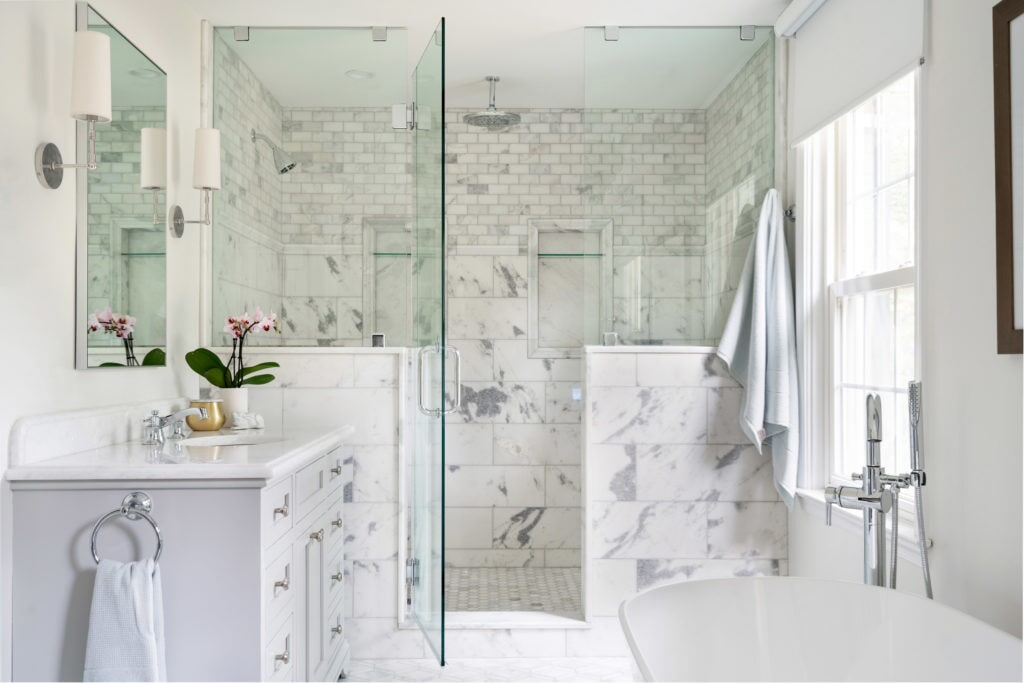 White bathroom design in Gladwyne, PA from Interior Trend