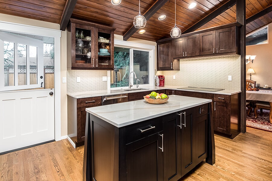Dark wood cabinetry in Seattle, WA from LeBlanc Floors & Interiors