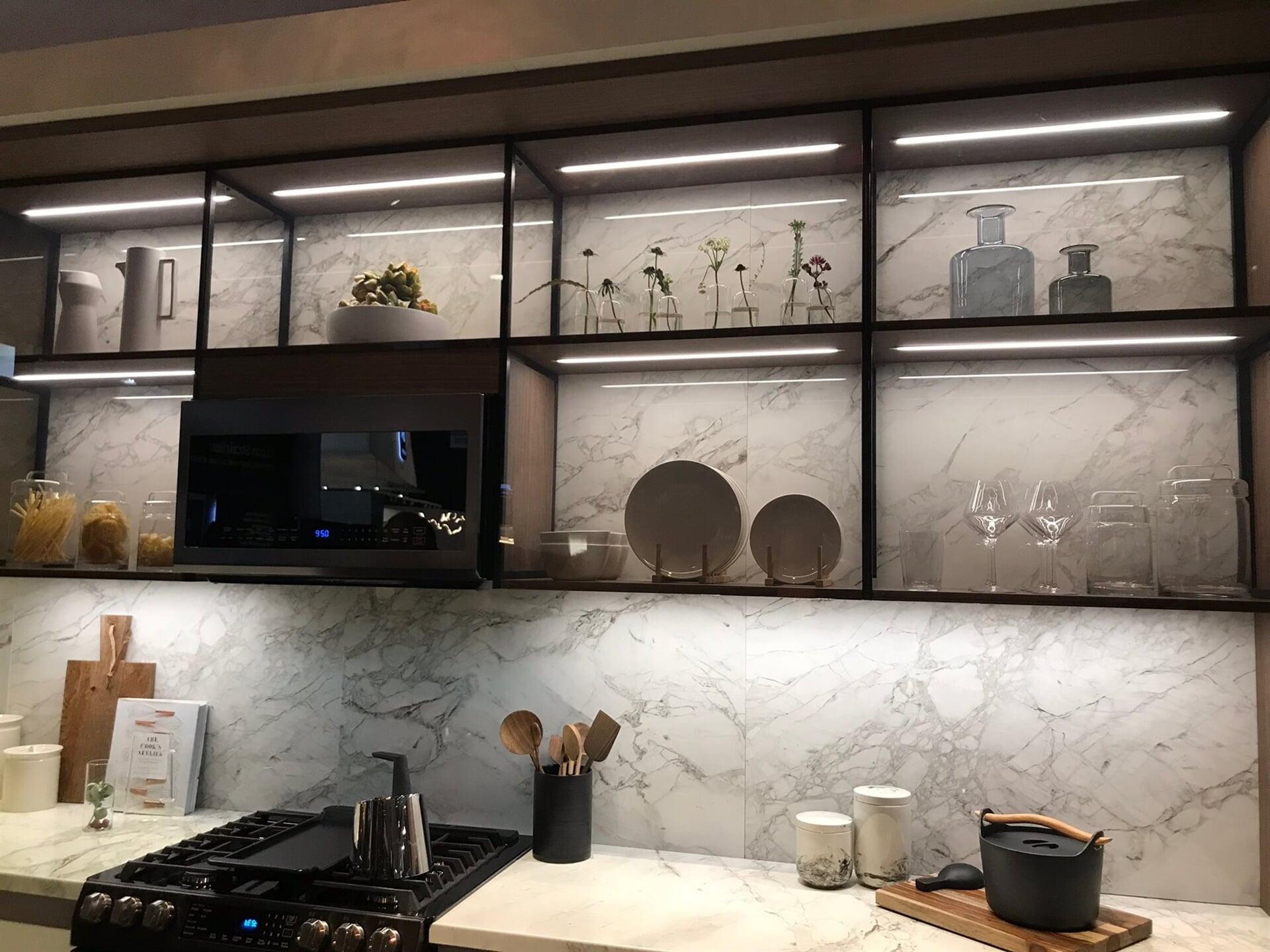 Marble backsplash wall in Boca Roton, FL from Floors For You Kitchen & Bath