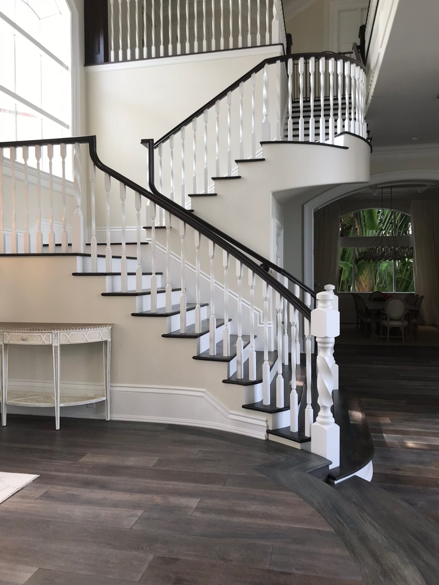 Beautiful wood stair design in Palm Beach Gardens, FL from Floors For You Kitchen & Bath