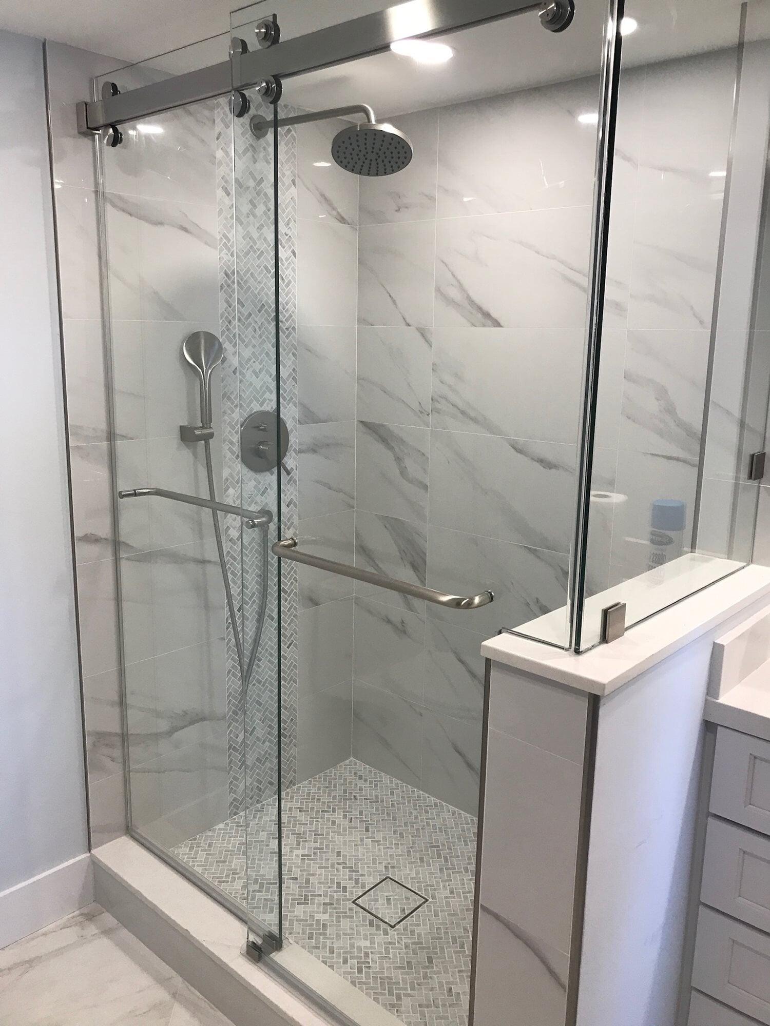 Custom stone shower in Jupiter, FL from Floors For You Kitchen & Bath