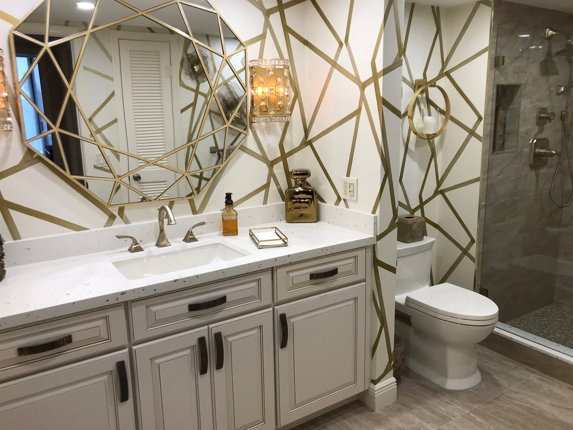 Art deco bathroom remodel in Jupiter, FL from Floors For You Kitchen & Bath