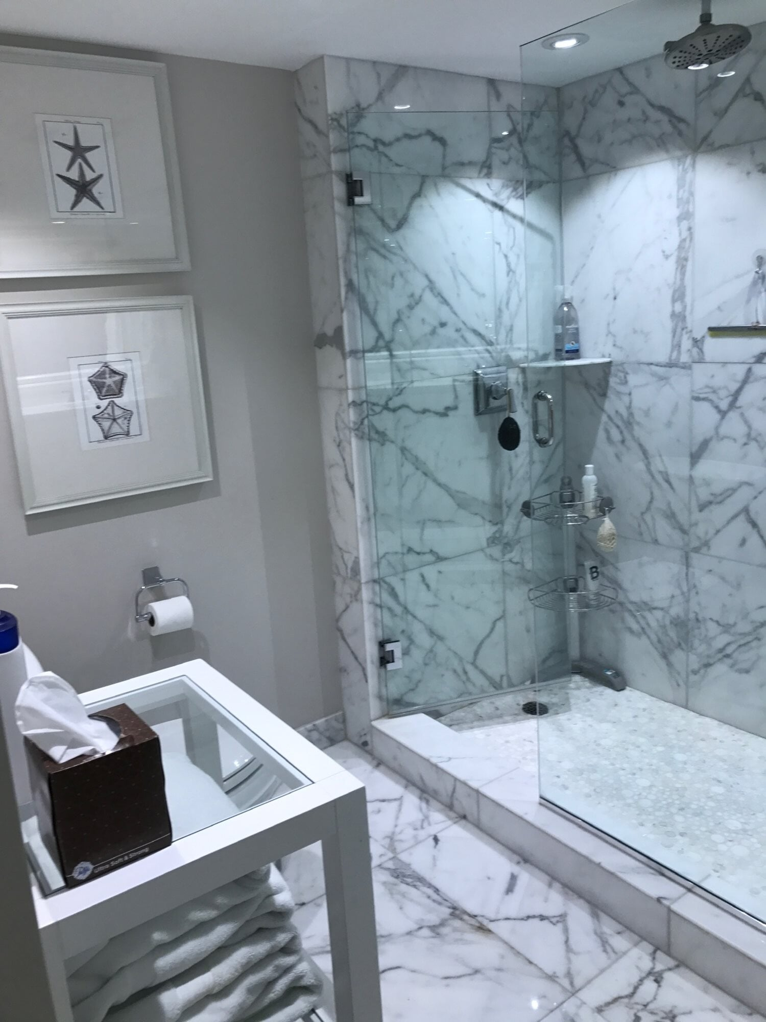 Marble tile shower in West Palm Beach, FL from Floors For You Kitchen & Bath