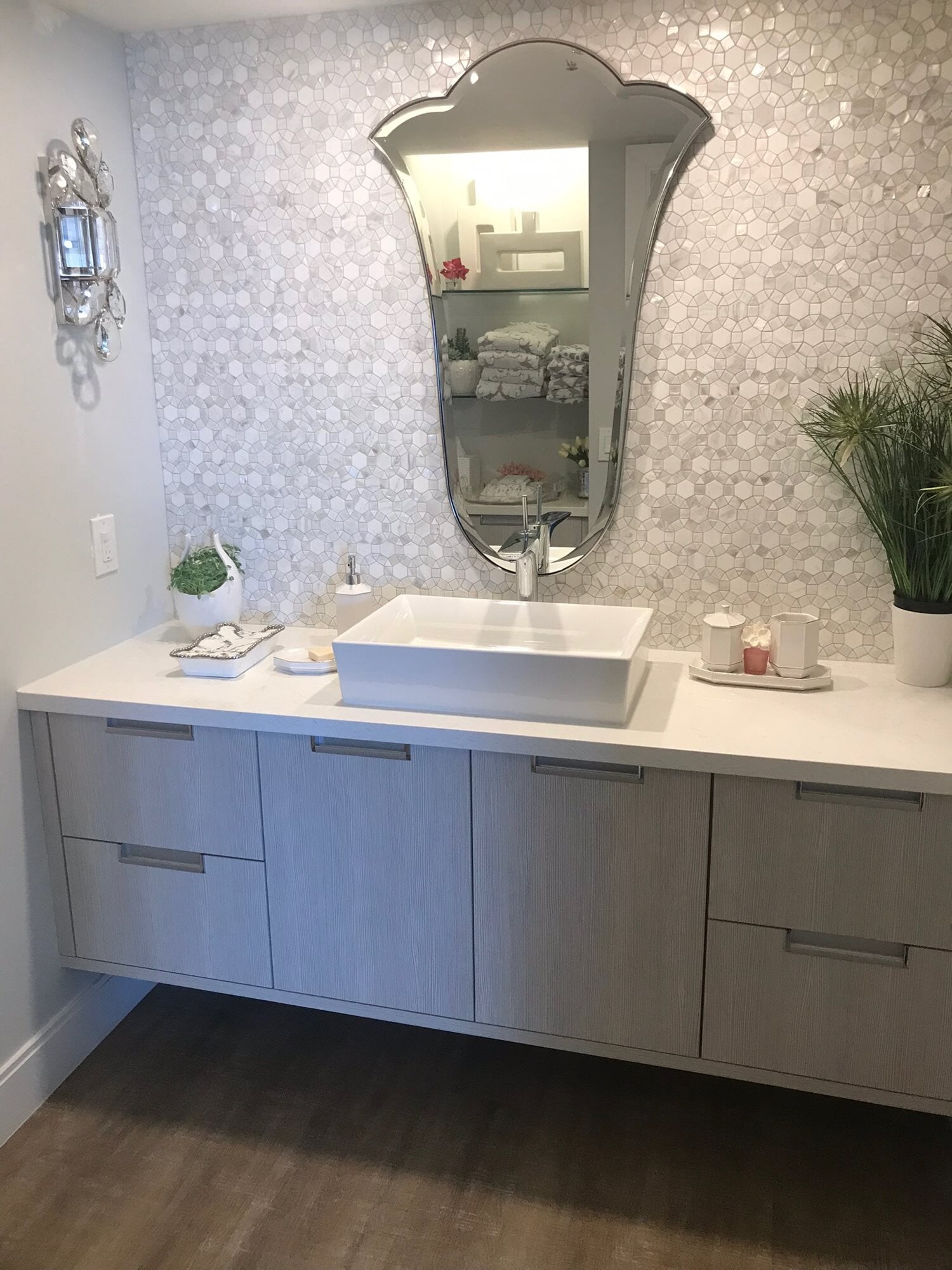 Light tone bathroom design in Juno Beach, FL from Floors For You Kitchen & Bath