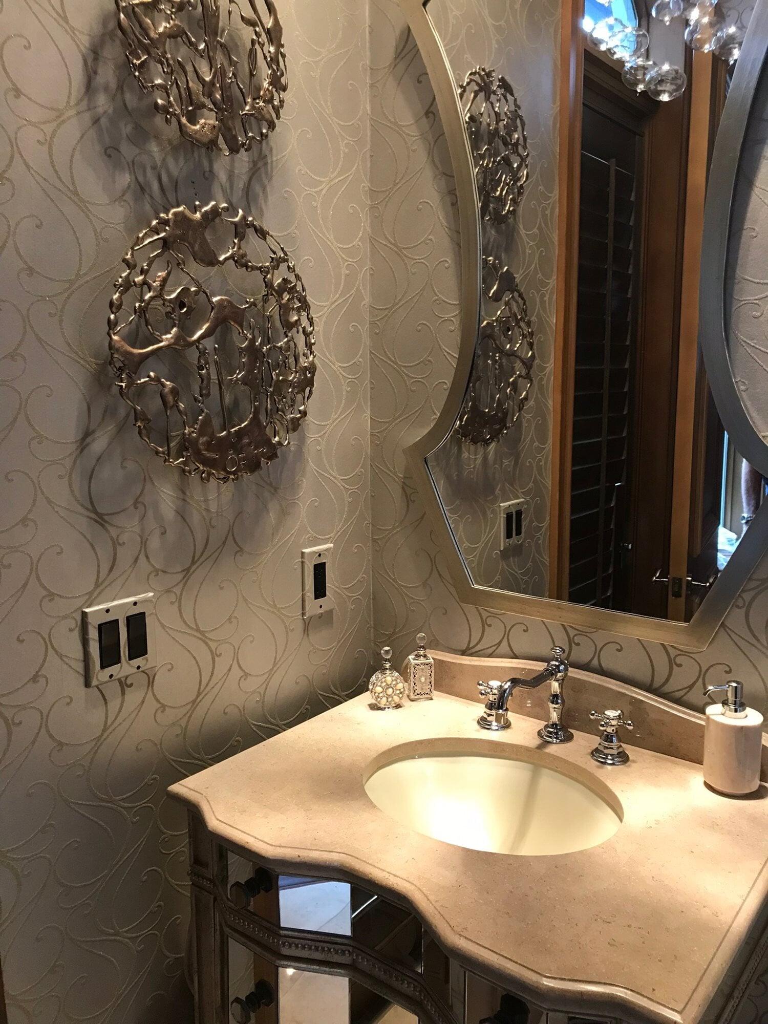 Ornate bathroom design in Jupiter, FL from Floors For You Kitchen & Bath