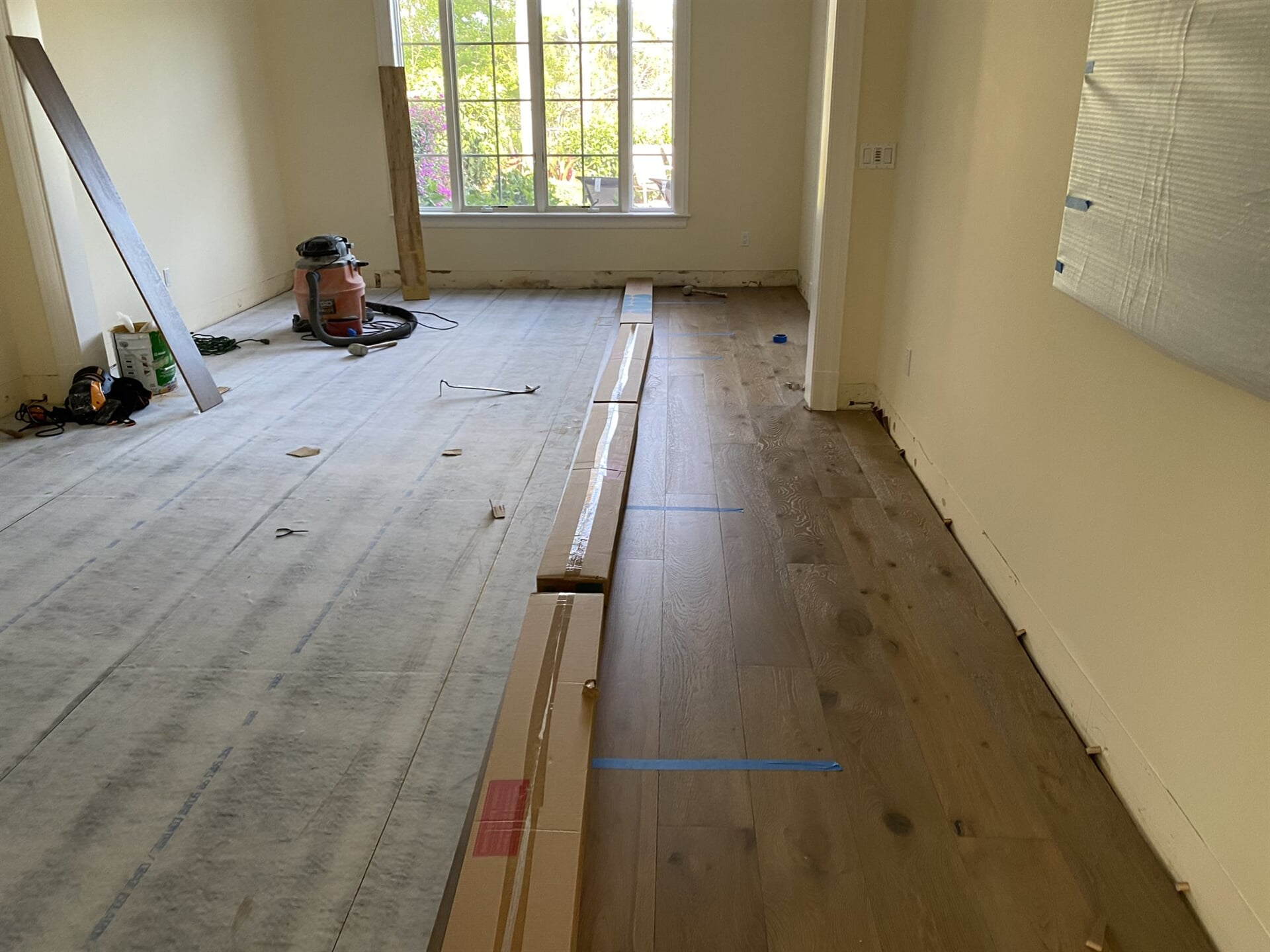 Flooring installation in progress in West Palm Beach, FL from Floors For You Kitchen & Bath