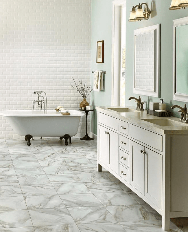 Marble tile floor in Lyons, GA from The Warehouse