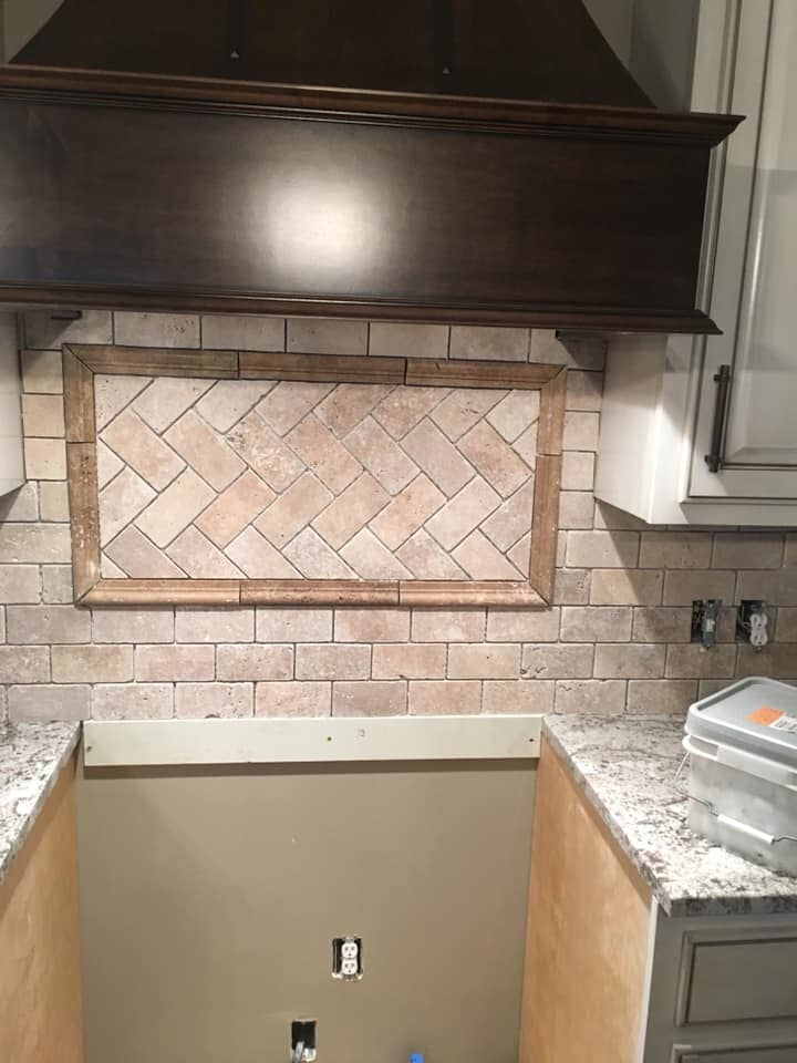 Custom stone backsplash in Collinsville, AL from R&D Flooring