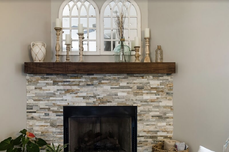 Stone fireplace surround in Tallahassee, FL from Luke Van Camp's Floors & More