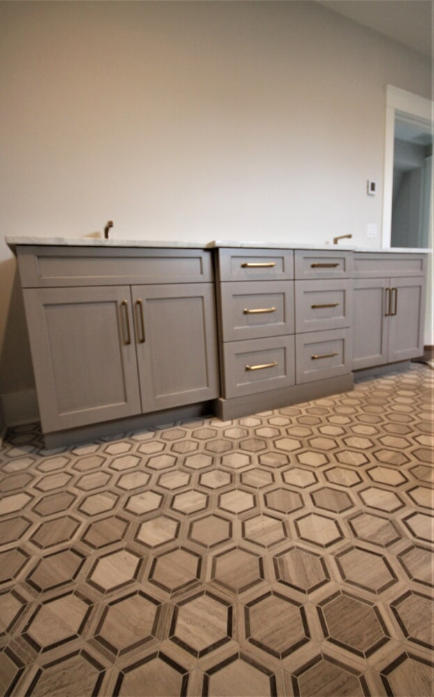 Cape Cod Master Bathroom Honed Limestone 6x6 Hexagon  Mosaic  Chenille White Blend Radiant Heated Rolled Floor in Sandwich, MA from Paramount Rug Company