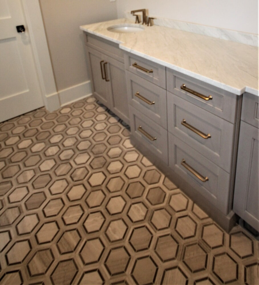 Cape Cod Master Bathroom Radiant Heated Roll Tile  Floor  Limestone 6x6 Hexagon  Mosaic in Barnstable, MA from Paramount Rug Company