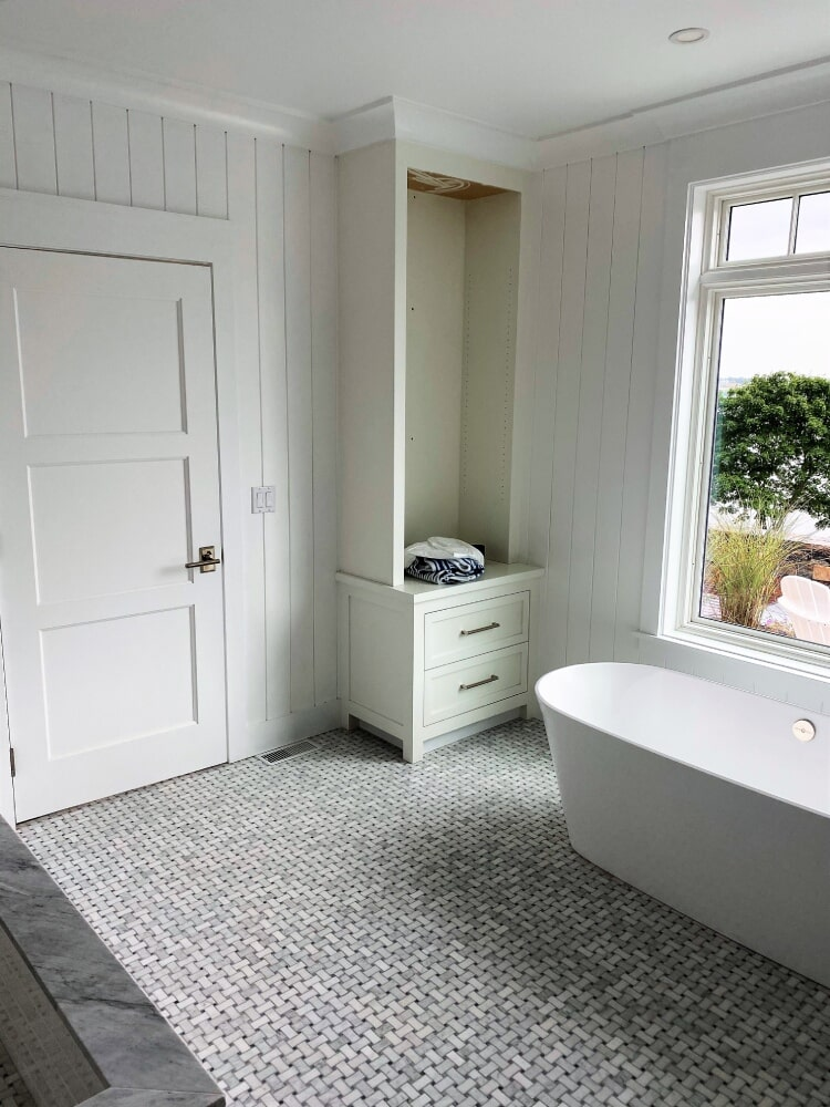 Free Standing Tub- CarraraMarble Basket Weave Mosaic Tile with Black Accent in Easton, MA from Paramount Rug Company