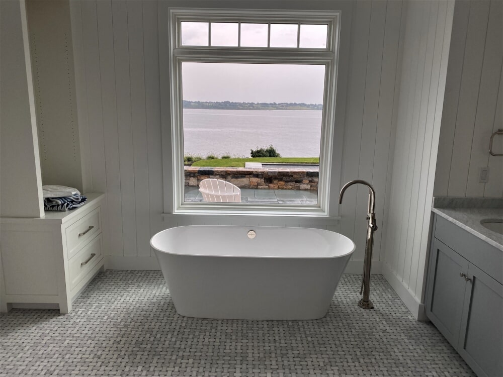 Free Standing Tub- CarraraMarble Basket Weave Mosaic Tile with Black Accent in Bridgewater, MA from Paramount Rug Company