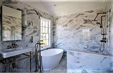 Middletown RI Carrara Marble Bathroom Large Wall Tile and Octogon floor tile in Franklin, MA from Paramount Rug Company