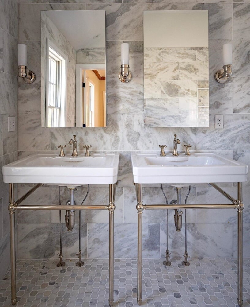 Middletown RI Carrara Marble Bathroom Large Wall Tile and Octogon floor tile in Cape Cod, MA from Paramount Rug Company