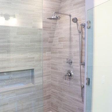 New Seabury Cape Cod - Tiburon Beige Wave  Porcelain Wall Tile - Shower Bench - Herringbone  Design Tile Floor2 in Brockton, MA from Paramount Rug Company