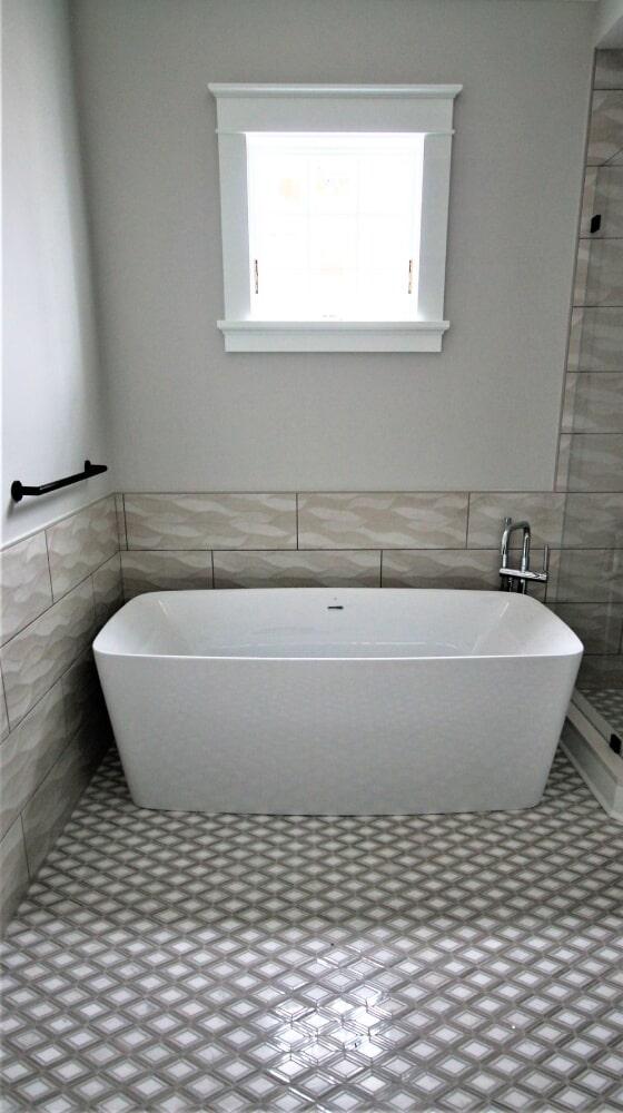 New Seabury Mashpee  Qualis Waves Wall Tile Dal Argyle Grey Polished Mosic Marble Floor Freestanding Tub in Franklin, MA from Paramount Rug Company
