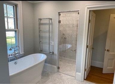 Portsmouth RI Carrara Marble Tile Bath Shower Stall  Herringbone Design Floor in Brockton, MA from Paramount Rug Company
