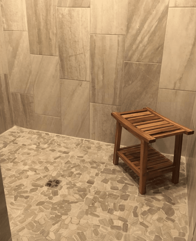 Natural stone shower in Greenbrier, AR from Conway Flooring & Design