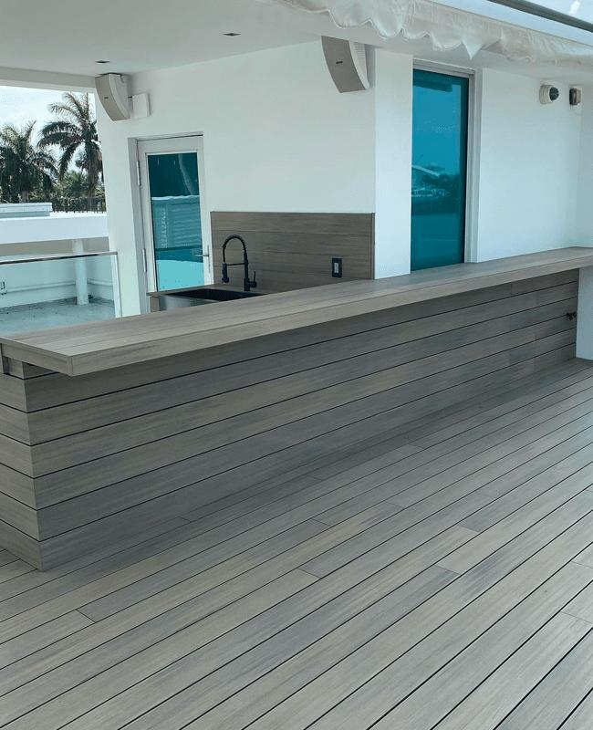 Custom wood bar installation in Doral, FL from Doral Hardwood Floor