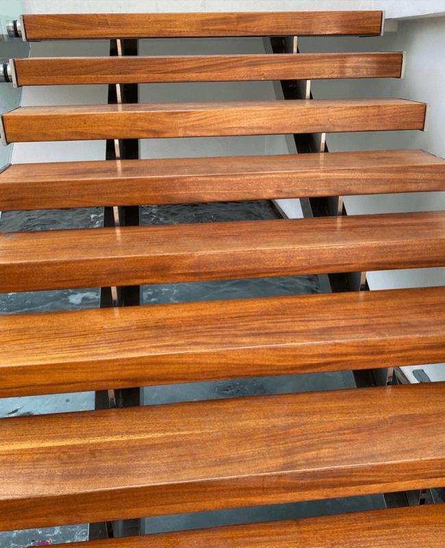Custom wood stairway in Doral, FL from Doral Hardwood Floor