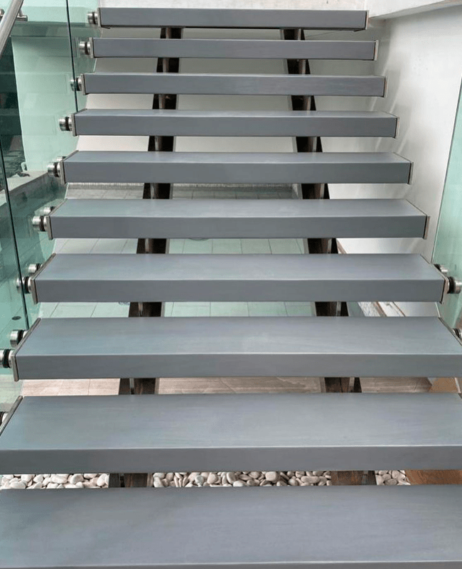 Custom floating concrete stairs in Doral, FL from Doral Hardwood Floor