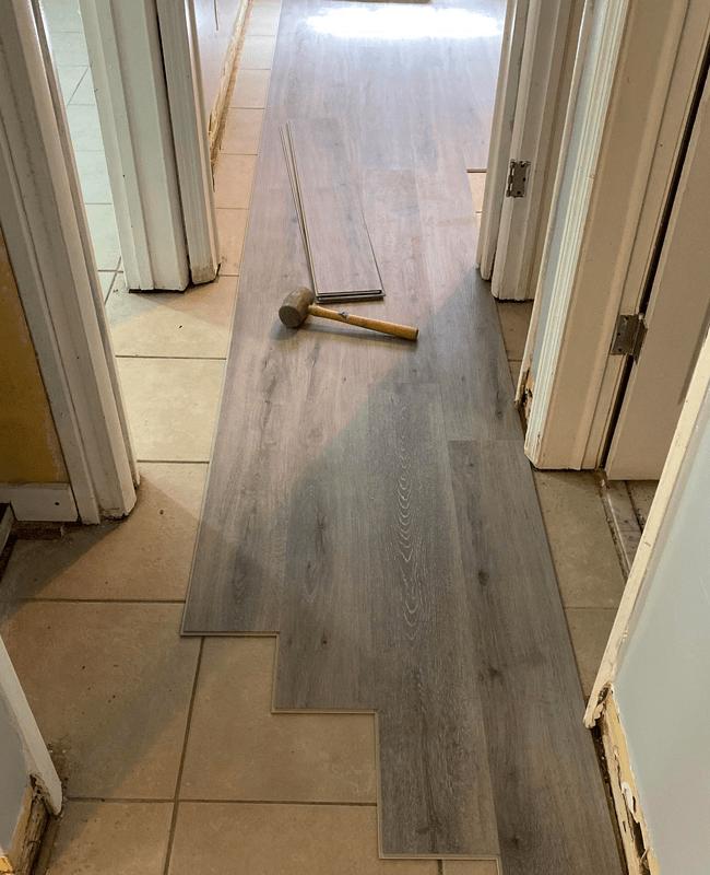 Flooring installation in progress in Westchester, FL from Doral Hardwood Floor