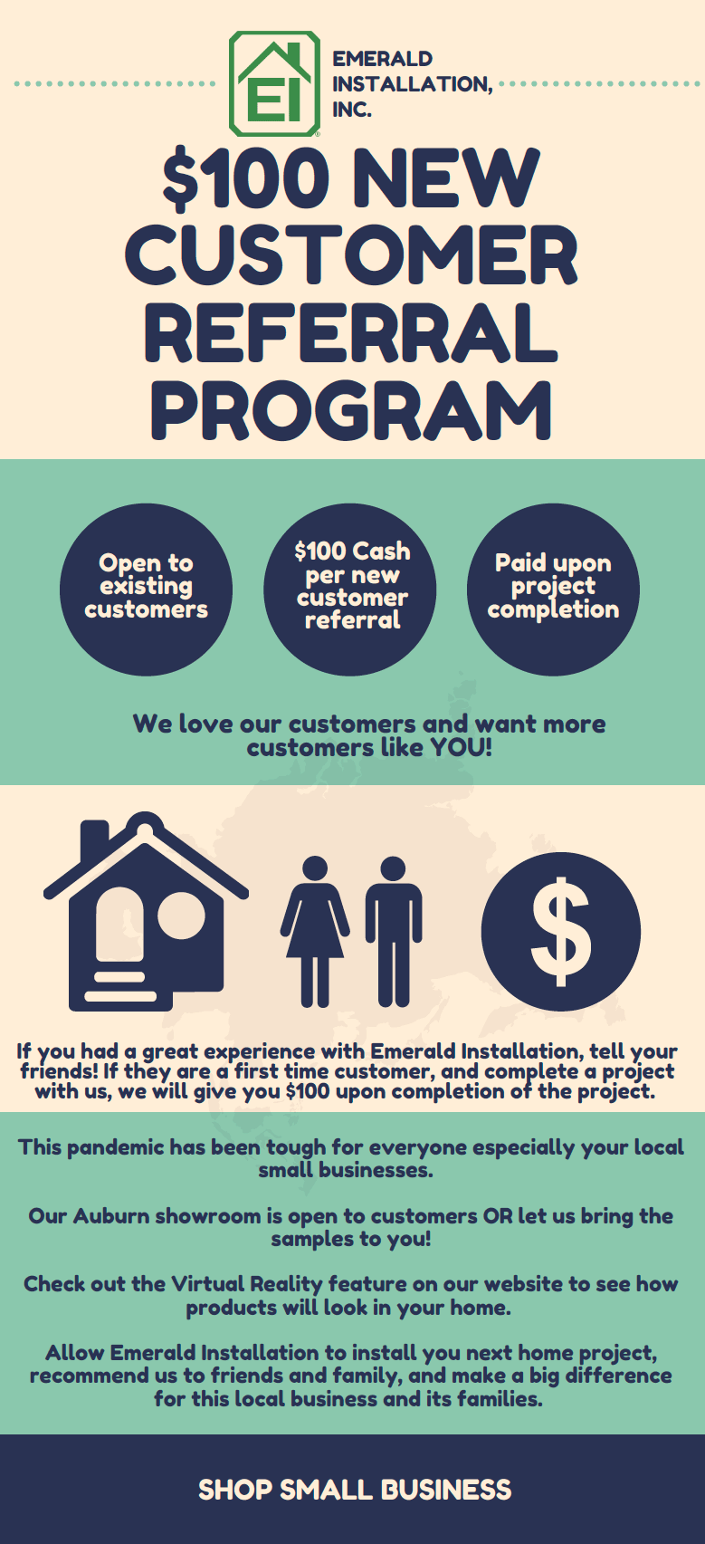 $100 New Customer Referral Program | Contact us for more information!