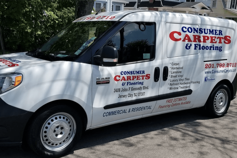 The Consumer Carpets & Flooring van servicing the greater Jersey City, NJ area