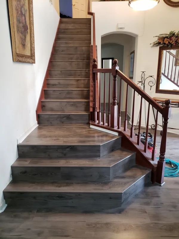 Custom wood stairs in Elk Grove, CA from Crestview Flooring Inc