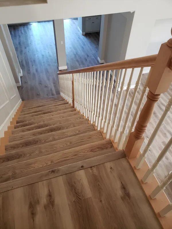 Stairway flooring installation in Elk Grove, CA from Crestview Flooring Inc