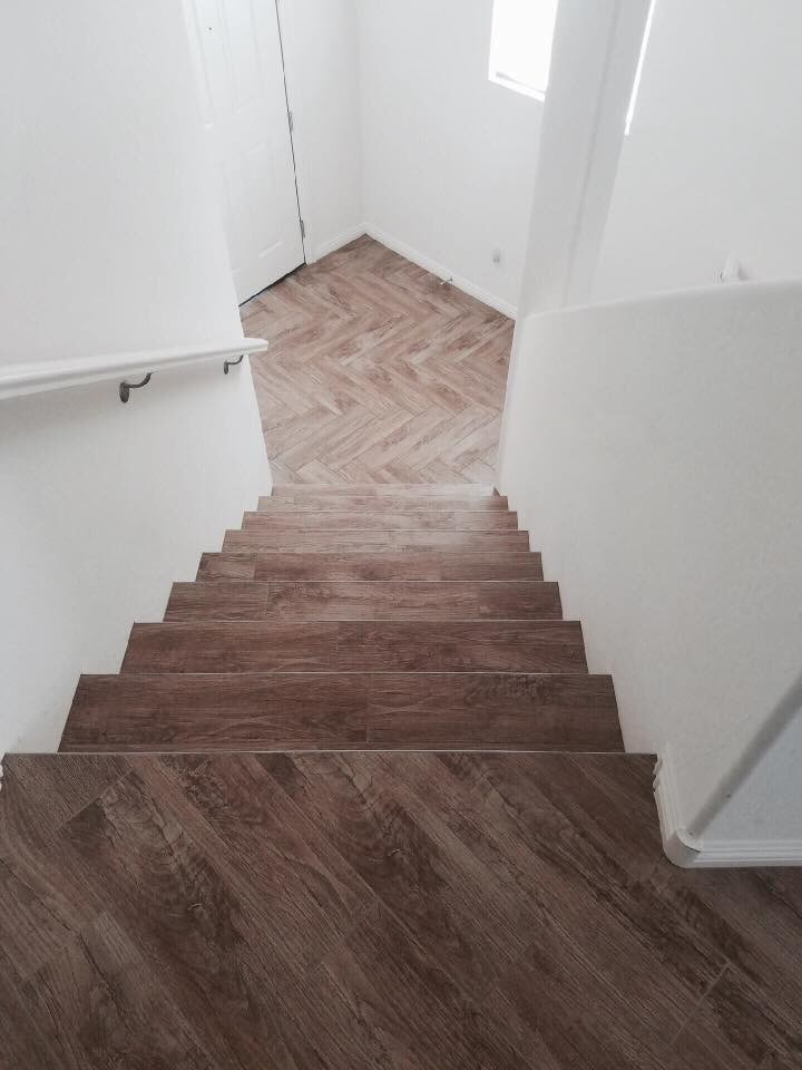 Wood stairs in Summerlin, NV from Beno's Flooring