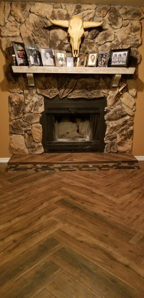 Stone fireplace surround in Las Vegas, NV from Beno's Flooring