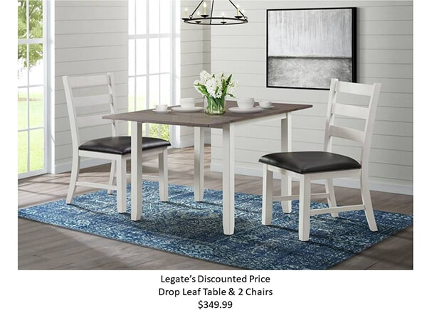 martin 3pc drop leaf dining table brown-white - bm