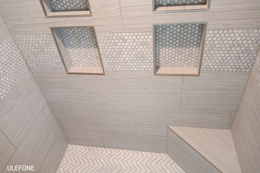 Custom recessed shelving in a Findlay, OH custom shower from House of Color