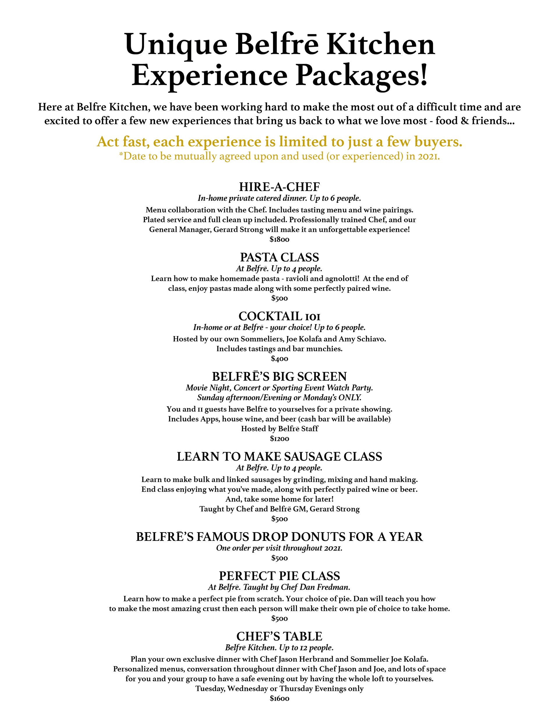 Insider Experience List