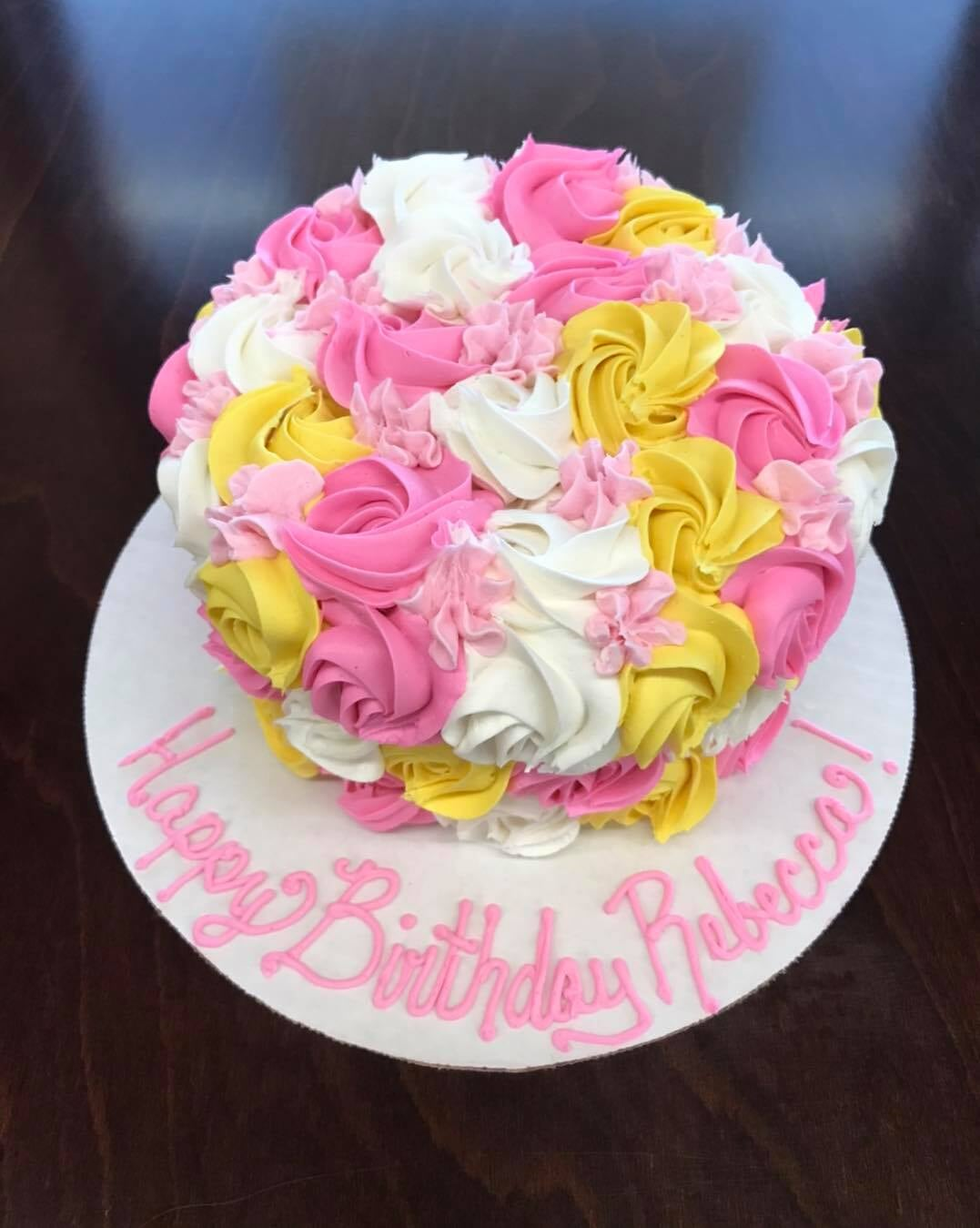 Pink Yellow Flower Top Cake-min