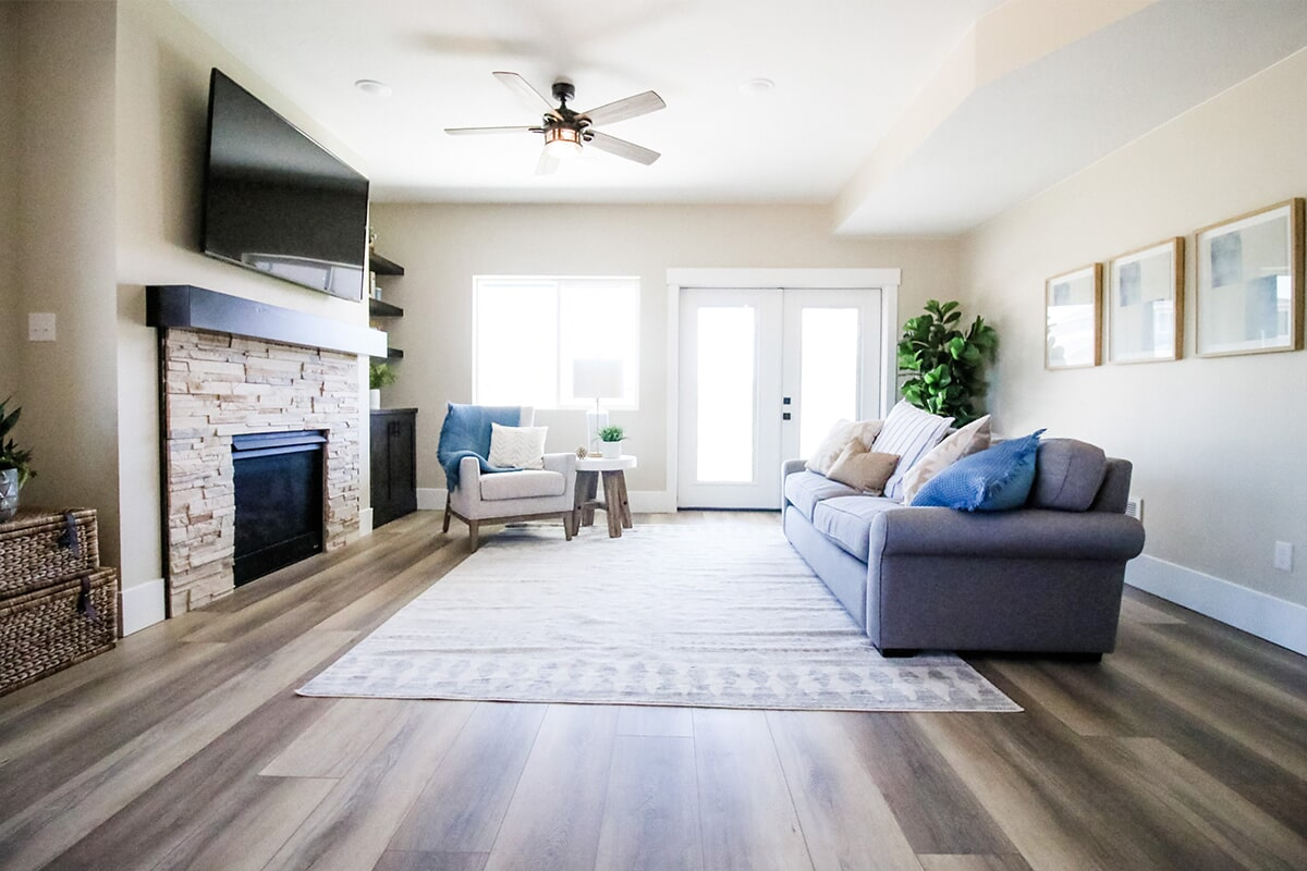 Living room design at 'The James' from Pioneer Floor Coverings & Design