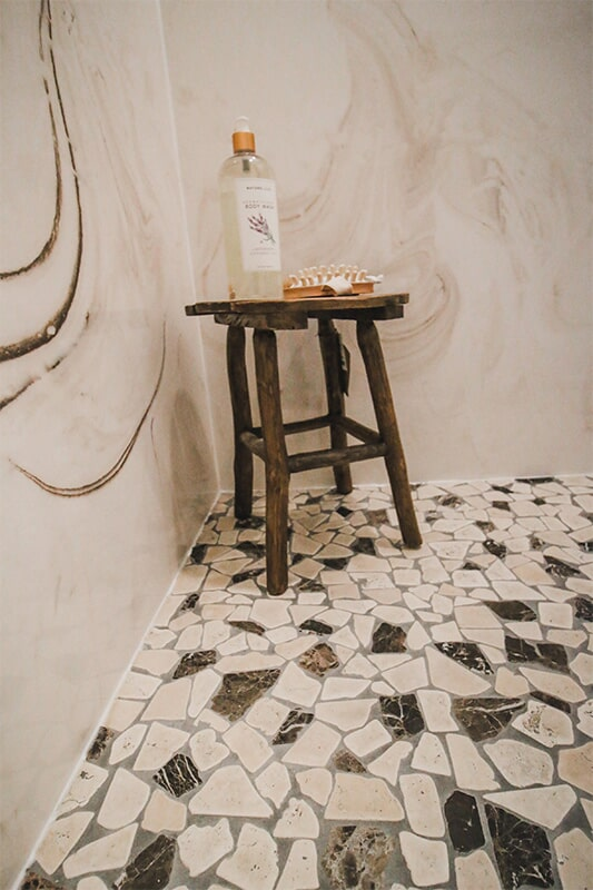 Rustic shower at 'The James' from Pioneer Floor Coverings & Design