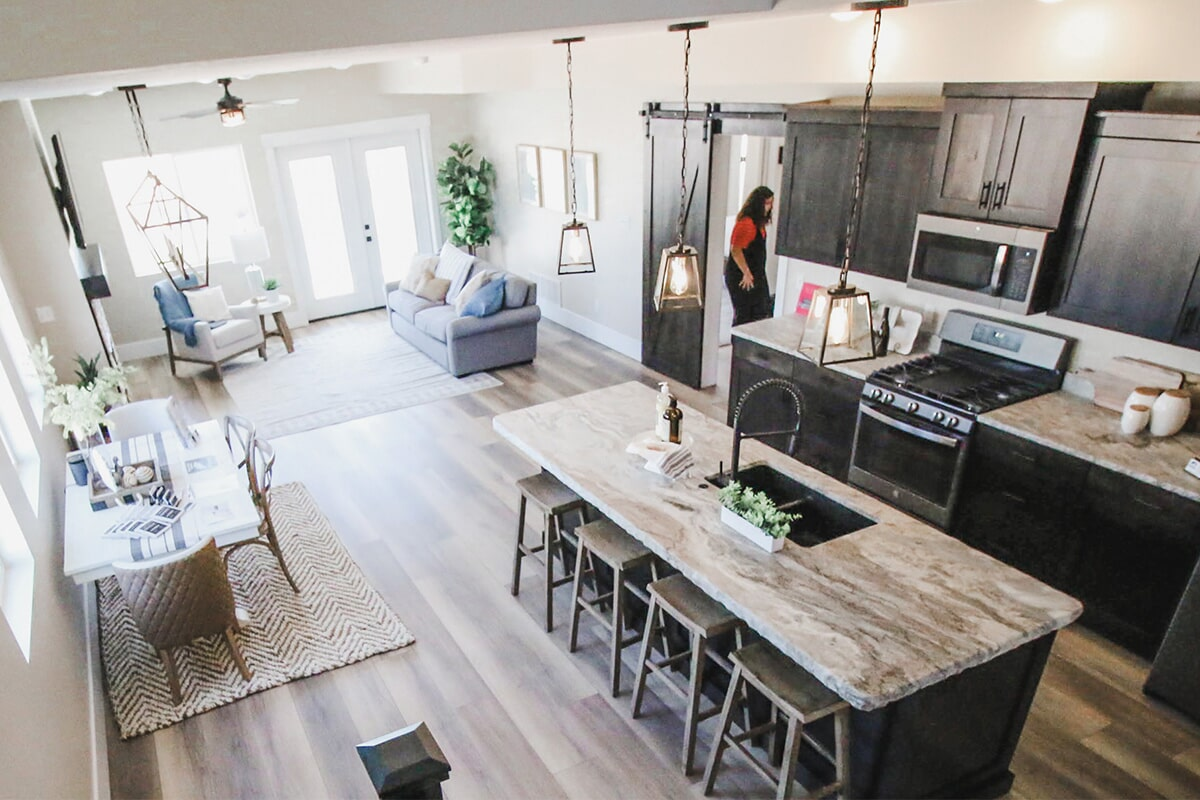 Open kitchen and living space at 'The James' from Pioneer Floor Coverings & Design