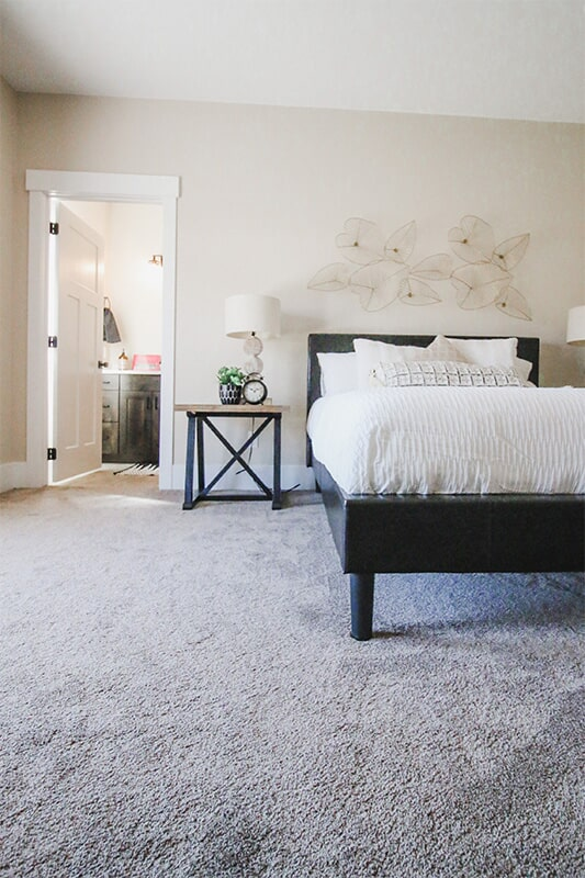 Master bedroom at 'The James' from Pioneer Floor Coverings & Design