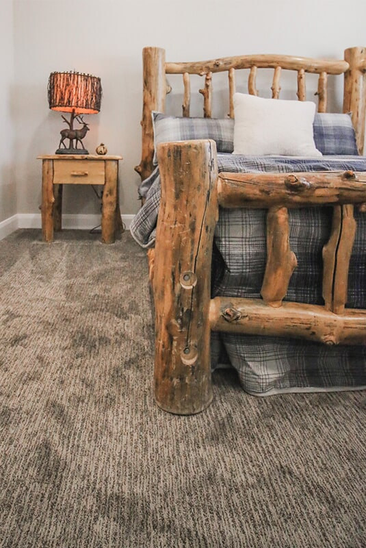 Cabin inspired bedroom at 'Radharc A' Gleann' from Pioneer Floor Coverings & Design