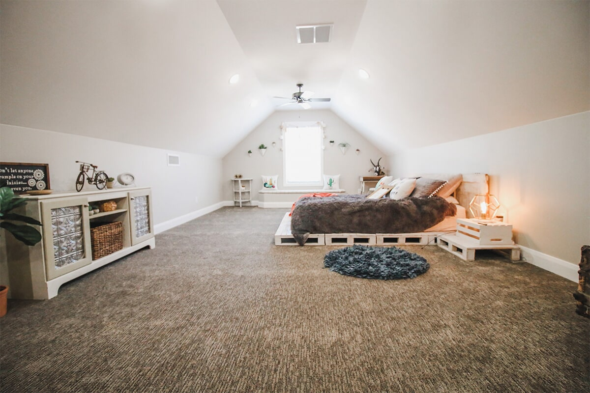Loft bedroom at 'Radharc A' Gleann' from Pioneer Floor Coverings & Design