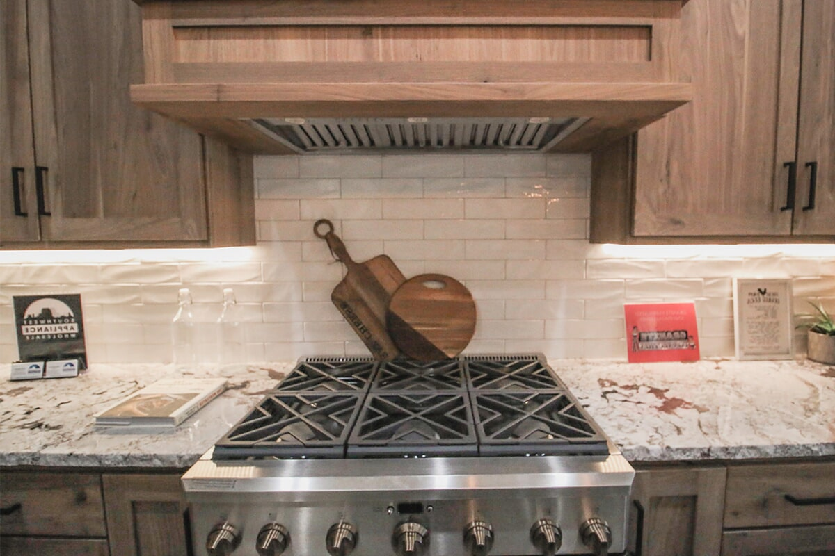 Custom backsplash at 'South Mountain Look' from Pioneer Floor Coverings & Design