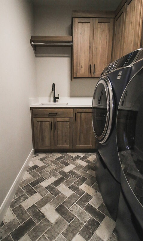 Laundry room design at 'South Mountain Look' from Pioneer Floor Coverings & Design