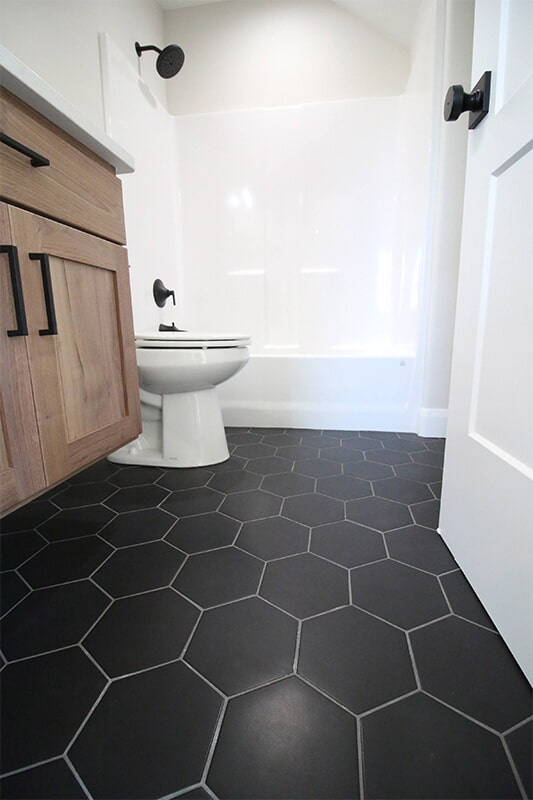 Hexagonal floor tile at 'South Mountain Look' from Pioneer Floor Coverings & Design
