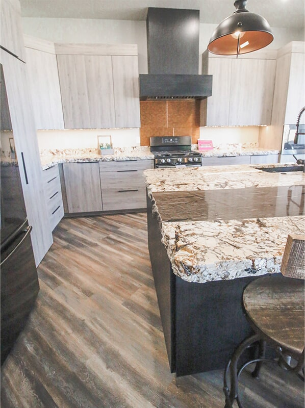 Live edge countertops at 'Elements at Sunset' from Pioneer Floor Coverings & Design