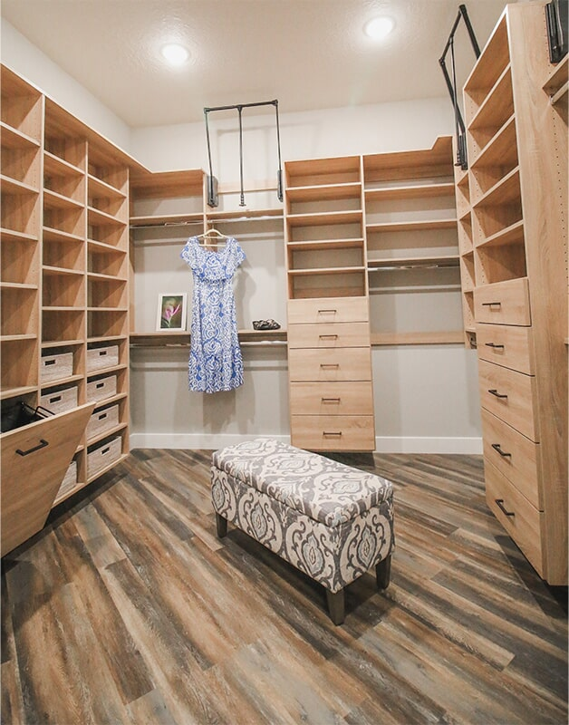 Dream walk-in closet at 'Elements at Sunset' from Pioneer Floor Coverings & Design