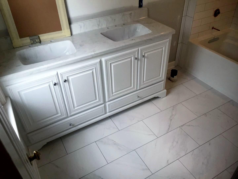 Stone bathroom flooring from Richie Ballance Flooring & Tile in Wilson, NC