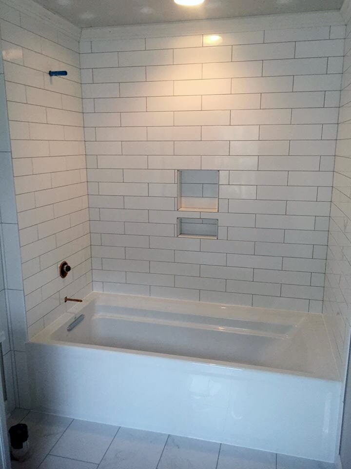 Subway tile shower from Richie Ballance Flooring & Tile in Wilson, NC